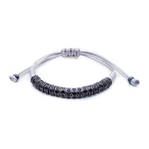 Modalooks Ruthenium Plated Black Diamonds Stoppers Macrame Bracelet - Grey Front