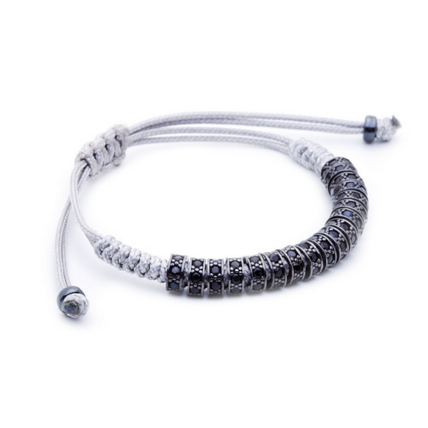 Modalooks Ruthenium Plated Black Diamonds Stoppers Macrame Bracelet - Grey Side