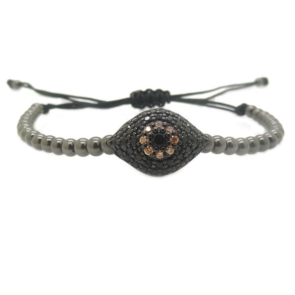 Modalooks-Ruthenium-Plated-Evil-Eye-CZ-4mm-Balls-Macrame-Bracelet
