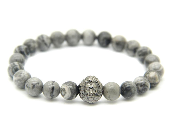 Modalooks-Ruthenium-Plated-Lion-Head-Grey-Jasper-Beads-Bracelet