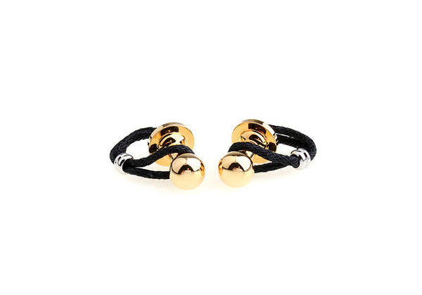 Modalooks-Semi-Casual-Loop-Cufflinks-Black-Gold-Front-View