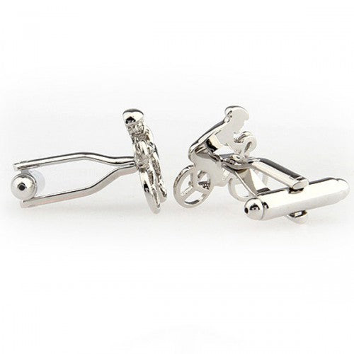 Sport-Bicycle-Bike-Silver-Modalooks-Cufflinks-Side-View