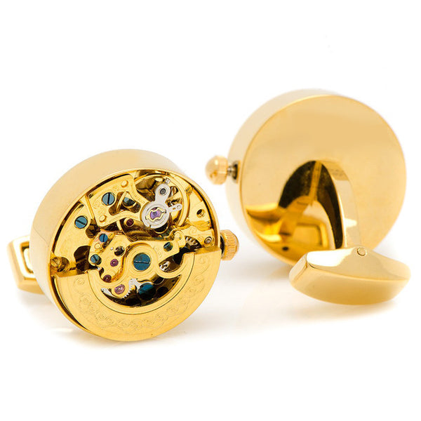 Modalooks-Tourbillon-Watch-Movement-Cufflink-Gold-Plated-Back-View