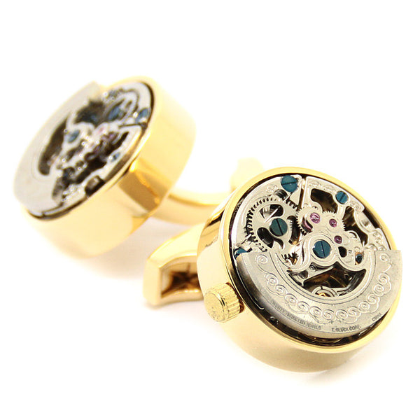 Modalooks-Tourbillon-Watch-Movement-Cufflink-Gold-Plated-Close-Up