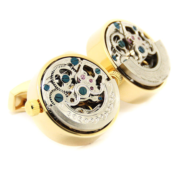 Modalooks-Tourbillon-Watch-Movement-Cufflink-Gold-Plated-Double-Close-Up