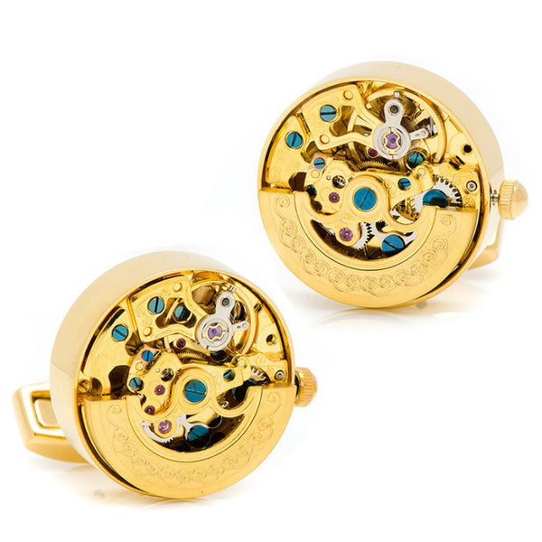 Modalooks-Tourbillon-Watch-Movement-Cufflink-Gold-Plated-Front