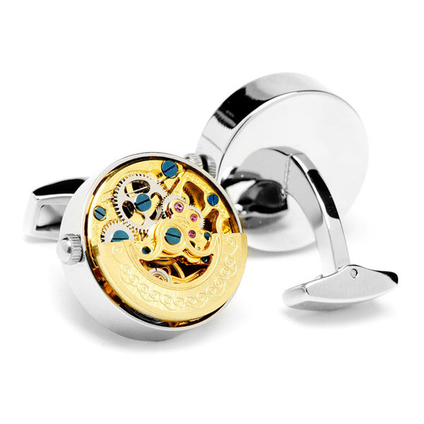 Modalooks-Tourbillon-Watch-Movement-Cufflink-White-Gold-Gold-Plated-Back-View