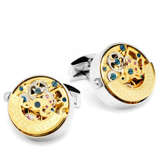 Modalooks-Tourbillon-Watch-Movement-Cufflink-White-Gold-Gold-Plated