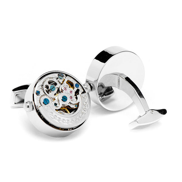 Modalooks-Tourbillon-Watch-Movement-Cufflink-White-Gold-Plated-Back-View