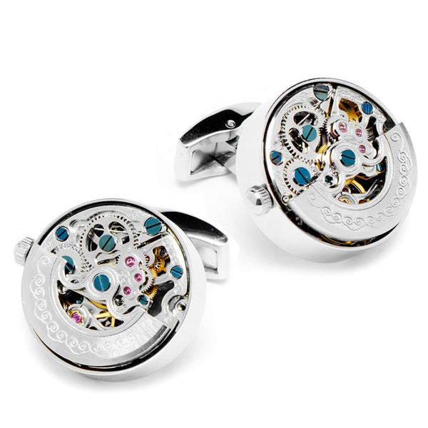 Modalooks-Tourbillon-Watch-Movement-Cufflink-White-Gold-Plated