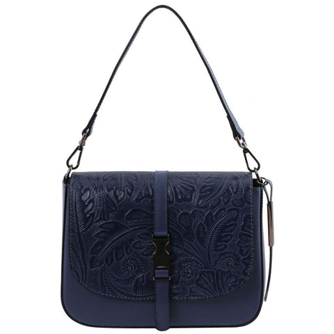 Nausica - Leather shoulder bag with floral pattern