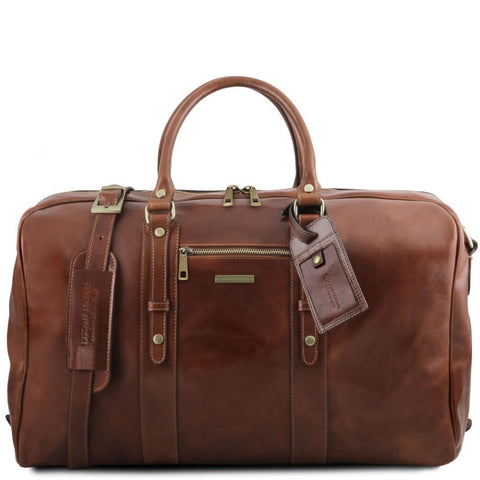 TL Voyager - Leather travel bag with front pocket