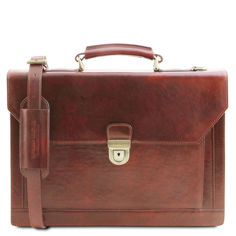 Cremona - Leather briefcase 3 compartments