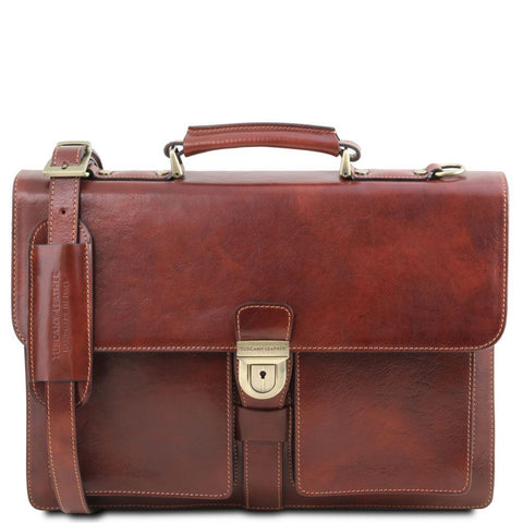 Assisi - Leather briefcase 3 compartments