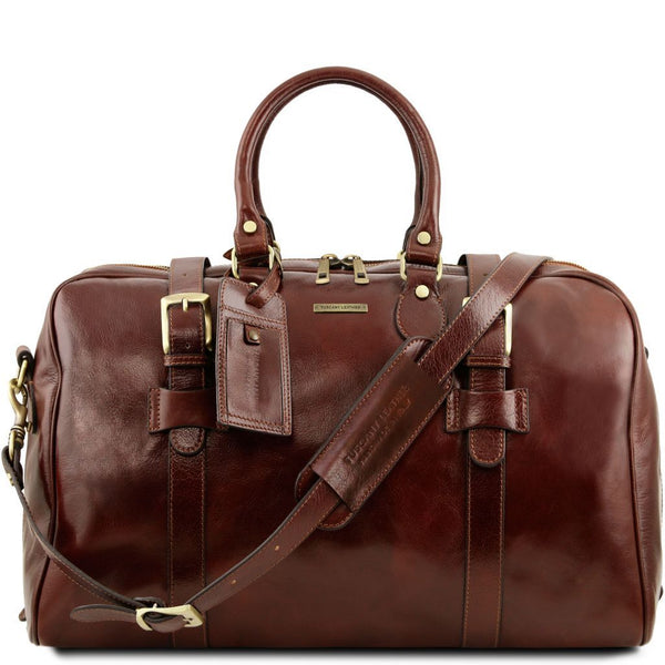 TL Voyager - Leather travel bag with front straps - Large size