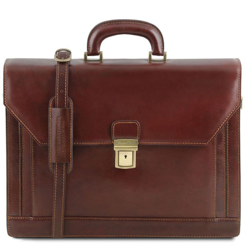 Napoli - 2 compartments leather briefcase with front pocket