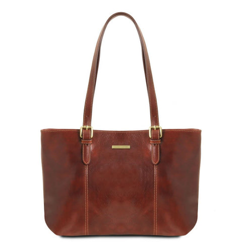 Annalisa - Leather shopping bag with two handles