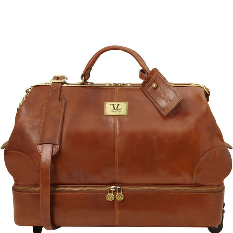 Siviglia - Two wheeles double-bottom Gladstone leather bag