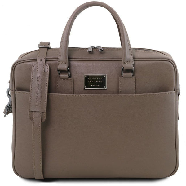Urbino - Saffiano leather laptop briefcase with front pocket