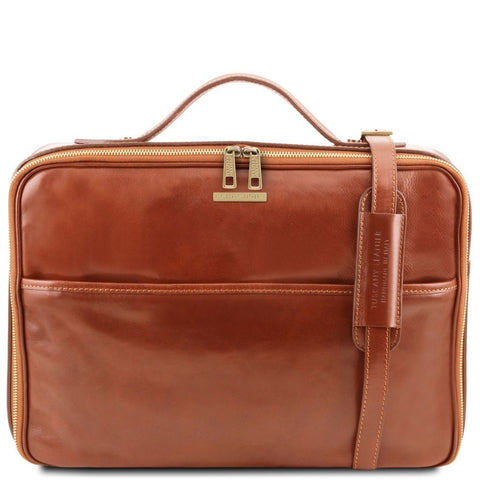 Vicenza - Leather laptop briefcase with zip closure