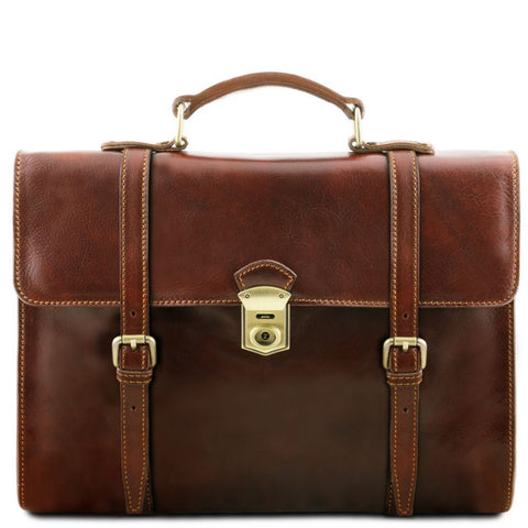 Viareggio - Exclusive leather laptop case with 3 compartments
