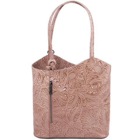 Patty - Leather convertible bag with floral pattern
