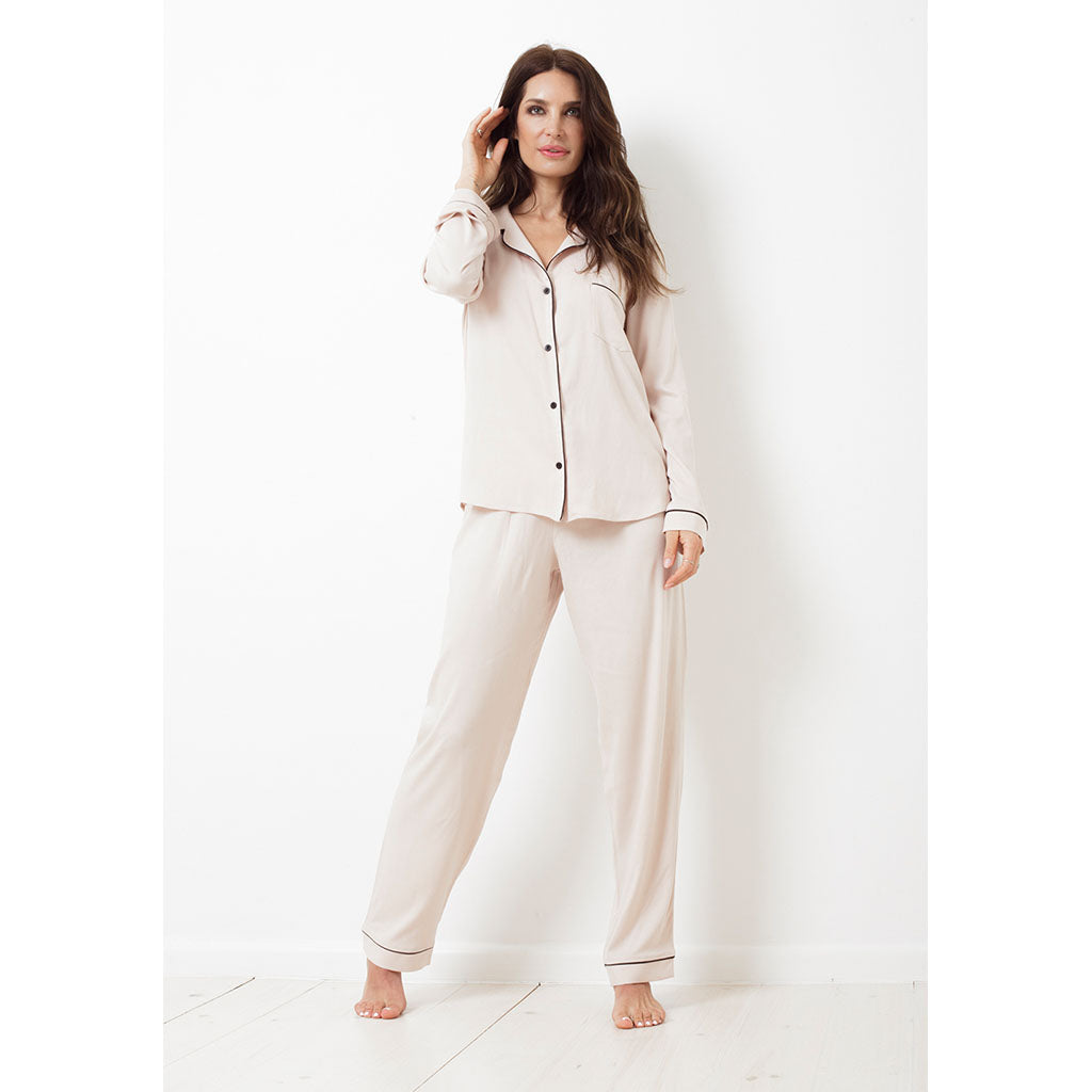 Twill Classic Long Pajama Set | Crema