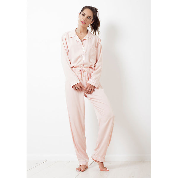 Twill Classic Long Pajama Set | Blush