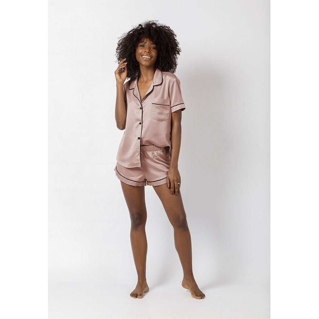 Classic Silky Short Pajama Set | Antique Rose