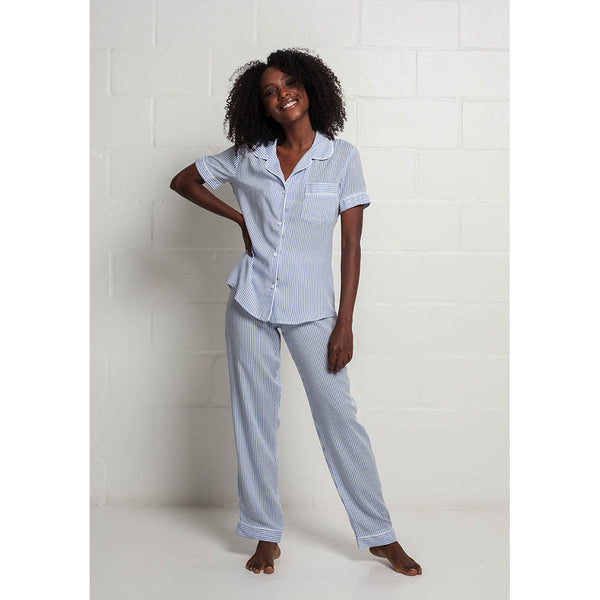 Classic Long Pajama Set | Blue Stripe