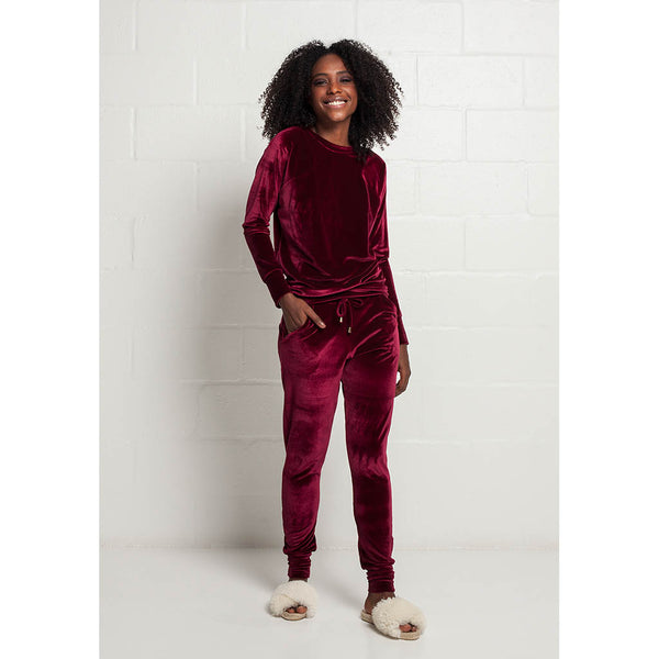 Velvet Travel Track Set | Maroon