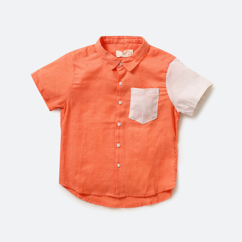 Minamalist shirt ~ Orange - Milk teeth -Kids Dresses, Girls Dress, Girls Skirt, Boys Shirts, Kids Shorts,T-Shirts, Boys Shoes, Girl Sandals,Kids Online Shopping