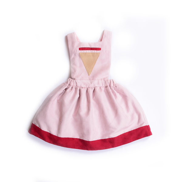 Pinafore Triangle Dress (Pink) - Milk teeth -Kids Dresses, Girls Dress, Girls Skirt, Boys Shirts, Kids Shorts,T-Shirts, Boys Shoes, Girl Sandals,Kids Online Shopping