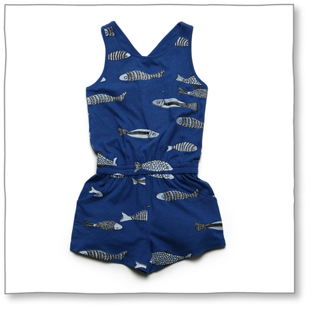 Marine Friends Romper (Blue) - Milk teeth -Kids Dresses, Girls Dress, Girls Skirt, Boys Shirts, Kids Shorts,T-Shirts, Boys Shoes, Girl Sandals,Kids Online Shopping
