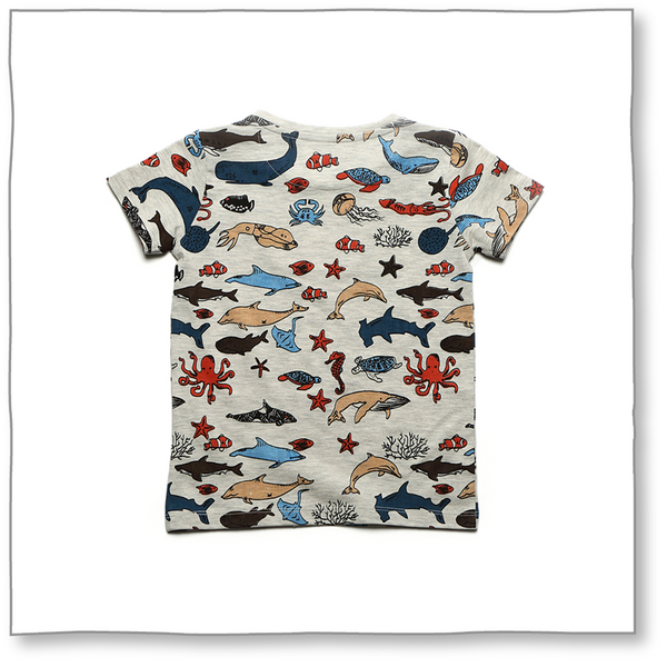 Marine Friends Tee (Ecru) - Milk teeth -Kids Dresses, Girls Dress, Girls Skirt, Boys Shirts, Kids Shorts,T-Shirts, Boys Shoes, Girl Sandals,Kids Online Shopping