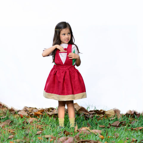 Pinafore Triangle Dress (Maroon) - Milk teeth -Kids Dresses, Girls Dress, Girls Skirt, Boys Shirts, Kids Shorts,T-Shirts, Boys Shoes, Girl Sandals,Kids Online Shopping