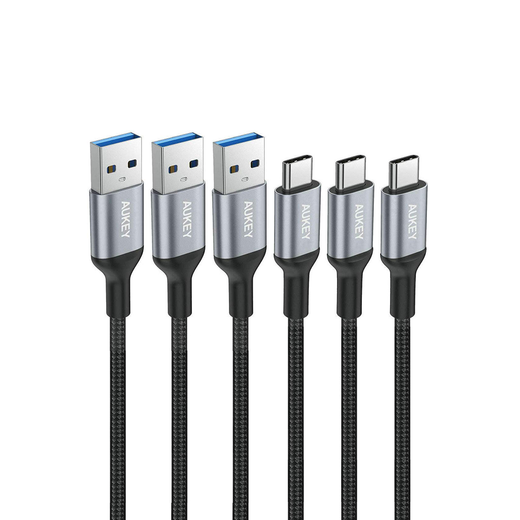 AUKEY USB C Cable 3.3ft Braided [3 Pack] USB 3.0 Type C Fast Charge Samsung