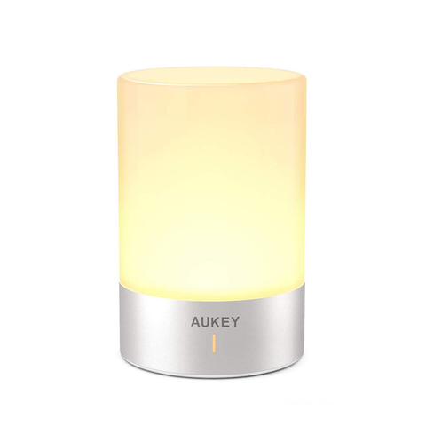 AUKEY Cordless Light Bedside Table Lamp with RGB Color LED Bedroom Lights