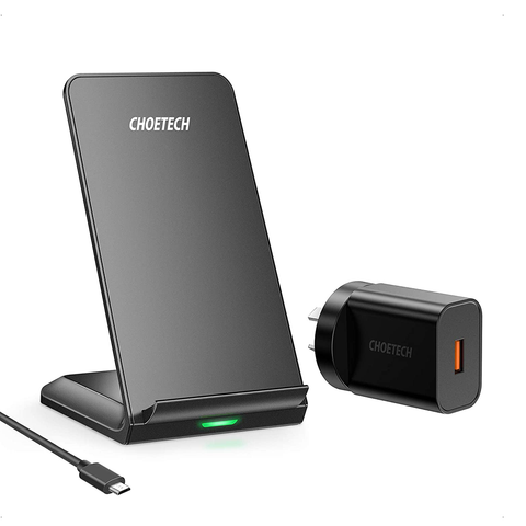 CHOETECH Wireless Charger Qi-Certified 10W Fast Charging Stand (with AC Adapter)