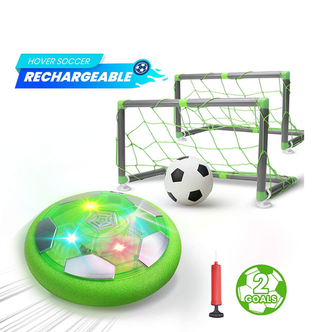 DEERC Kids Game Toys Hover Soccer Ball Set Rechargeable Air Soccer with 2 Goals