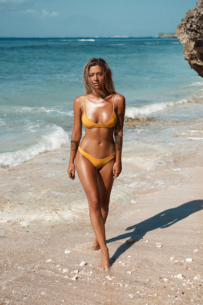 Ipanema Scoop Bikini Top in Mustard Yellow