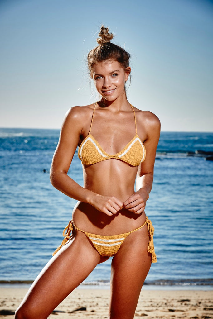 Santa Monica crochet bikini top in mustard yellow