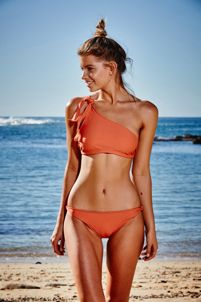 Capri Knotted Bikini Pant in Burnt Orange