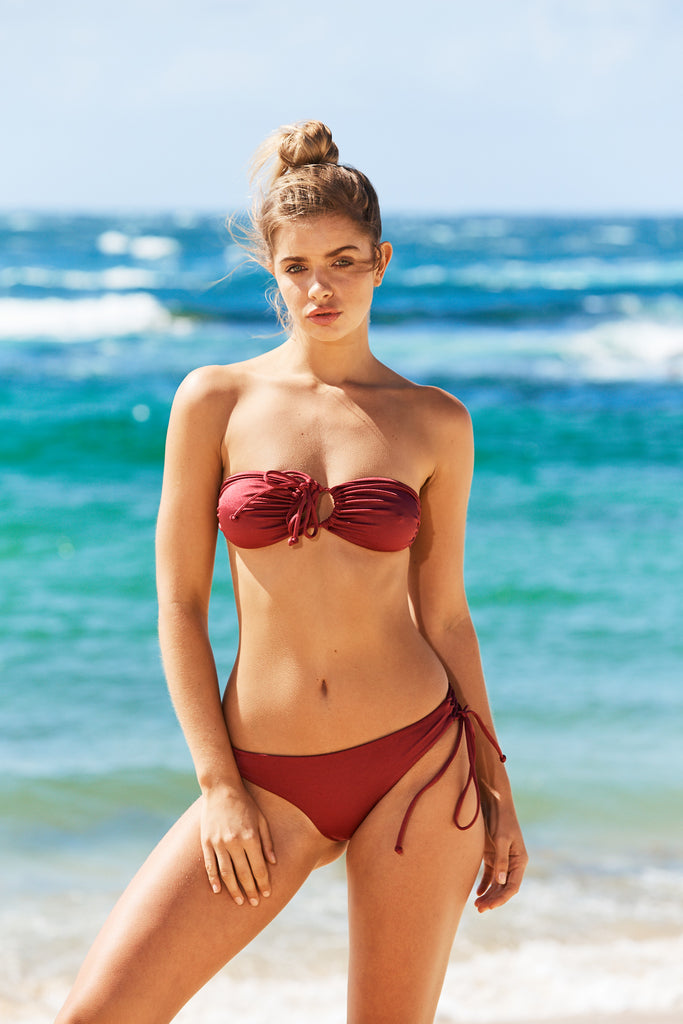 Aruba Three Way Bikini Top in Wine