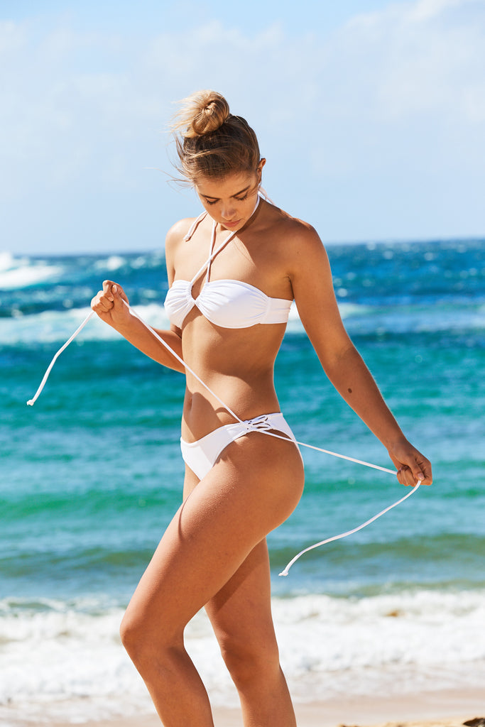Aruba Lace Up Bikini Pants in White