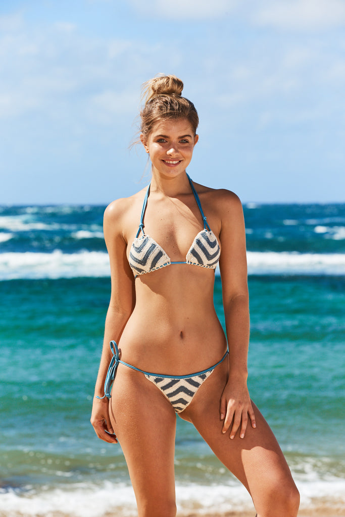Torquay Crochet Bikini Top in Stripe