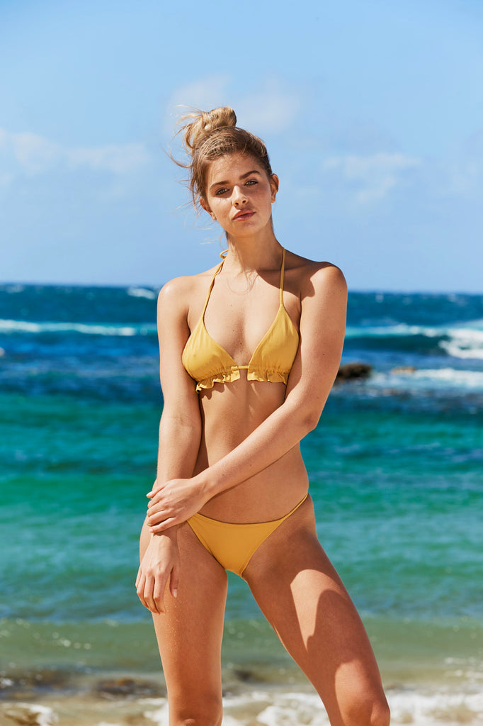 Clovelly Triangle Bikini Top in Mustard