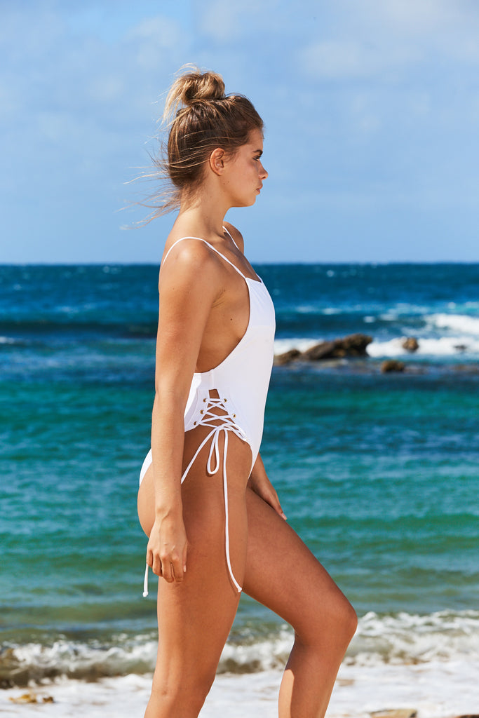 Cannes Lace Up Swimsuit in White