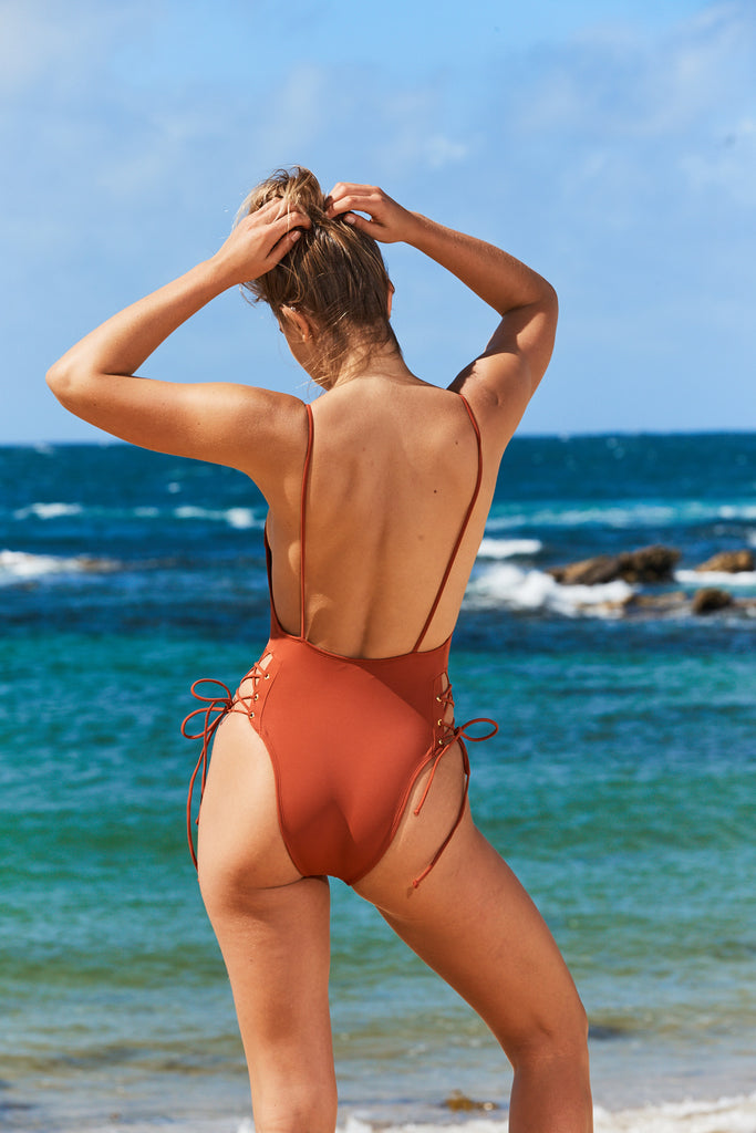 Cannes One Piece Swimsuit in Rust