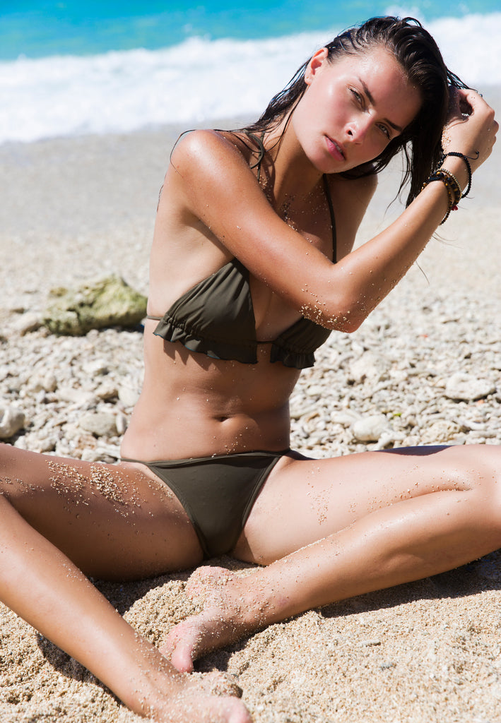 Clovelly Triangle Bikini Top in Khaki